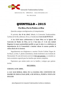 CONVOCATORIA QUINTILLO 2015